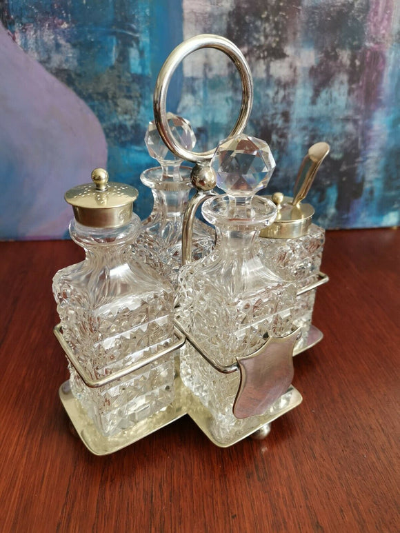Vintage Cruet Condiment 4 Piece Set lead crystal Glass Silver Plate