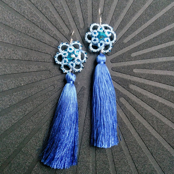 Tatted handmade blue drop earrings with Preciosa Bohemian crystals