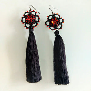 Tatted handmade black tassled drop earrings with red Preciosa Bohemian crystals