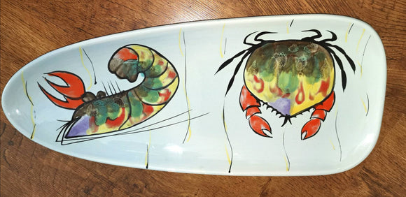 Huge Prawn crab crevette serving Platter MBFA Pornic, Breton Manufacture of Artistic Faiences