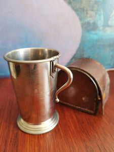 Collapsible silver plated stirrup cup SOLD