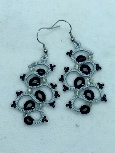 Tatted lace Earrings Handmade frivolite Earrings with  Preciosa Beads 50mm Long