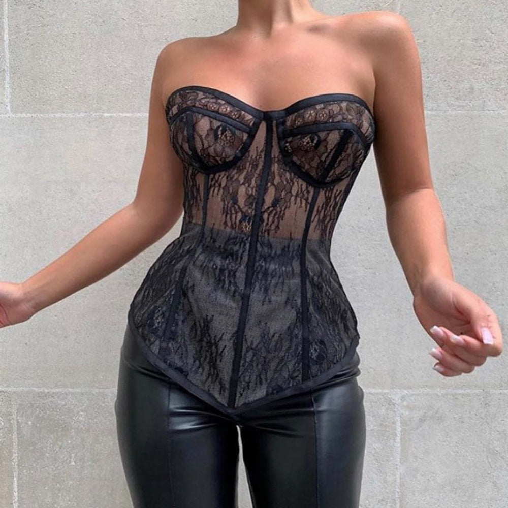 Lace Top Fashion Street Temperament Multiple Wear Body Shaping Sexy Tight Corset