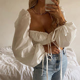 White Square Collar Elegant Lace Up Crop Top Sexy Puff Lantern Sleeve Top Summer Party Club Top Shirt Streetwear New