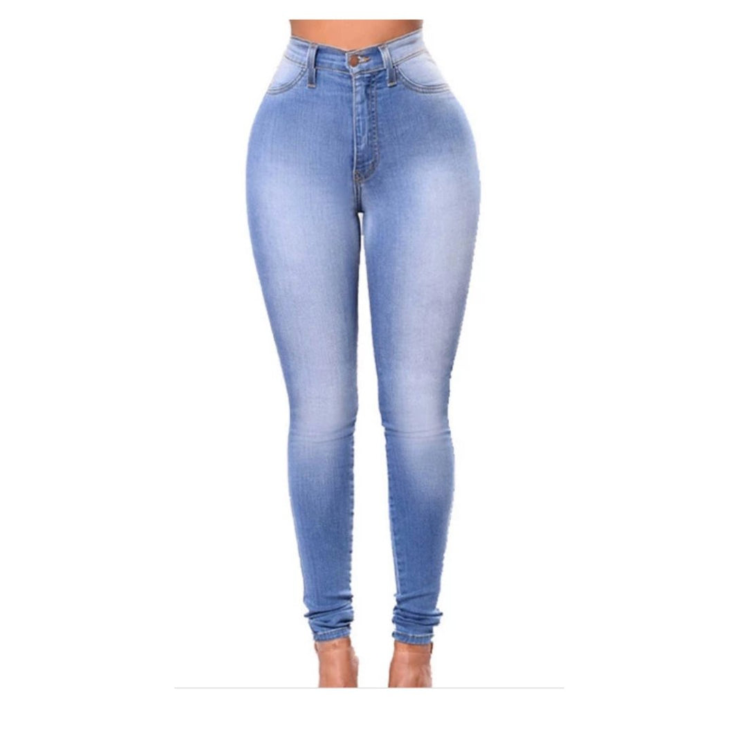 Basic Women Skinny Jeans Slim fit elastic High Waist Ladies' jeans fit in (S-5XL)