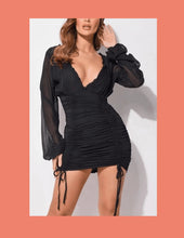 Load image into Gallery viewer, BLACK MINI DRESS LONG SLEEVE