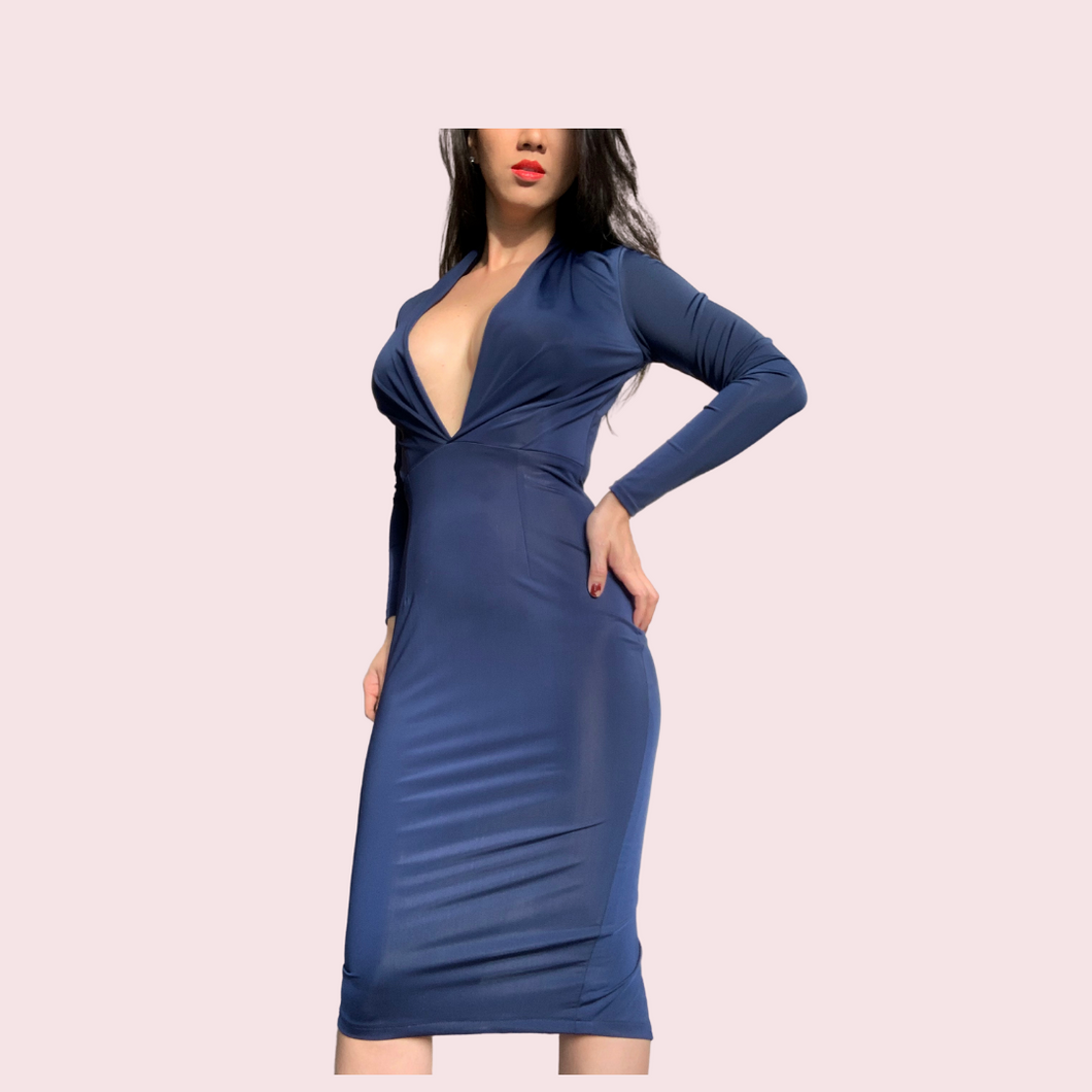 Blue Dress Deep V neck long Sleeve