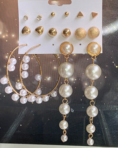 Gold and Pearl Earring Set