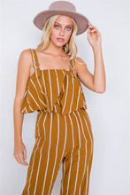 Load image into Gallery viewer, Stripe Buckle Shoulder Wide Leg Jumpsuit