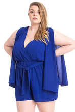 Load image into Gallery viewer, Shimmer Fabric Draped Open Sleeve Romper