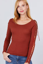 Load image into Gallery viewer, Long Sleeve W/strappy Detail Round Neck Rib Sweater Top