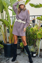 Load image into Gallery viewer, Turtle Neck Cold Shoulder Oversize Sweater Dress