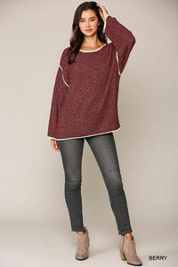 Two-tone Sold Round Neck Sweater Top With Piping Detail