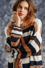 Load image into Gallery viewer, Multicolored Stripe Round Neck Long Sleeve Knit Sweater