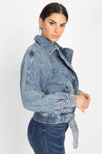 Load image into Gallery viewer, Ribbed Hem Belted Denim Jacket