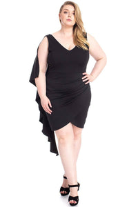 Back Shoulder Cape Plus Size Minid Ress