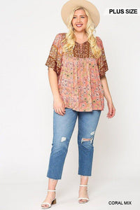 Floral Print Lace Up Flutter Sleeve Top