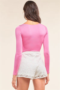Plain Tight Fit Long Sleeve Round Neck Bodysuit