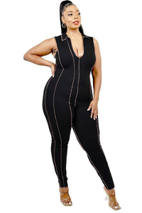Plus Sleeveless Knitted Overlock Stitch Jumpsuit