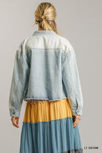 Load image into Gallery viewer, Collar Button Down Denim Jacket With Chest Pockets