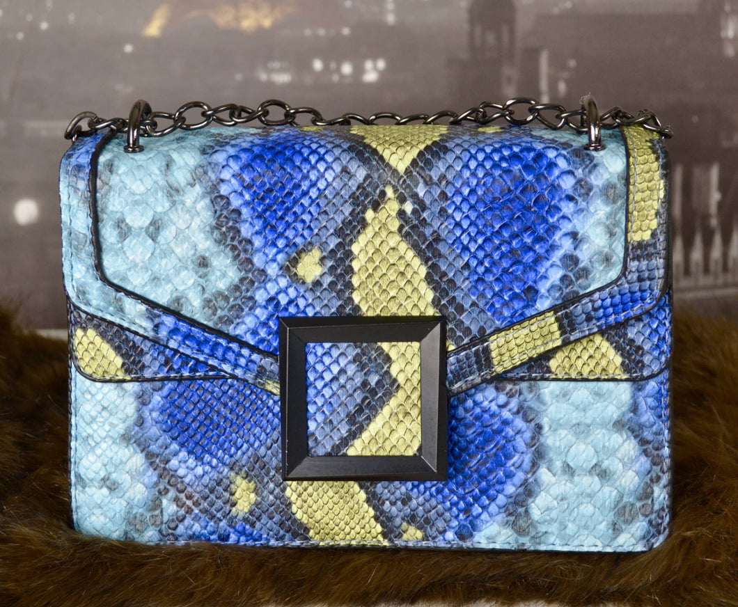 BLUE Women's Fashion Snakeskin Crossbody Bag Convertible Shoulder Bag with Chain Strap