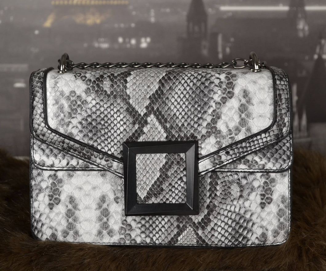 GREY Women's Fashion Snakeskin Crossbody Bag Convertible Shoulder Bag with Chain Strap