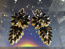 Load image into Gallery viewer, FLOWER BLACK STONE EARRINGS