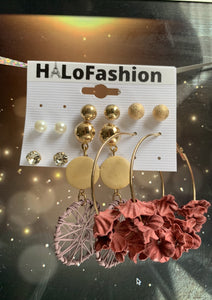 Hoop Metal Gold Flowers Earrings Set