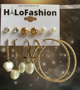 PEARL HOOP EARRINGS SET