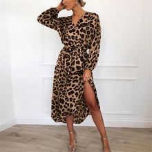 Load image into Gallery viewer, Leopard print V-neck high waist heavy chiffon dresses for women (S-XXL) PLUS SIZE