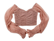 Load image into Gallery viewer, Sexy chiffon net yarn wave point breast wrap navel small long sleeve (size S-XL)