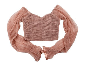 Sexy chiffon net yarn wave point breast wrap navel small long sleeve (size S-XL)