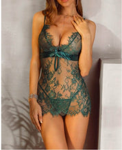 Load image into Gallery viewer, Spaghetti Strap Eyelash Lace Babydoll Dress S-XL