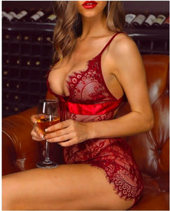 Spaghetti Strap Eyelash Lace Babydoll Dress S-XL