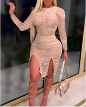 Load image into Gallery viewer, Ruched Sheer Mesh Slit Dress S-XXL
