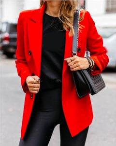 Solid Long Sleeve 1 layer Blazer Coat S-3XL