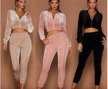 Load image into Gallery viewer, High Quality Zipper Fashion Sexy Ladies Girls Short Coat Crop Jacket Streetwear Long Pants Set Women Sport Casual Velvet Suits