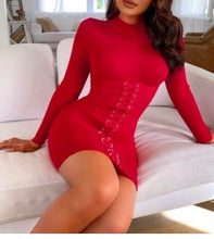Load image into Gallery viewer, Solid Eyelet Lace-Up Bodycon Turtle neck Dress