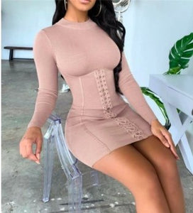 Solid Eyelet Lace-Up Bodycon Turtle neck Dress