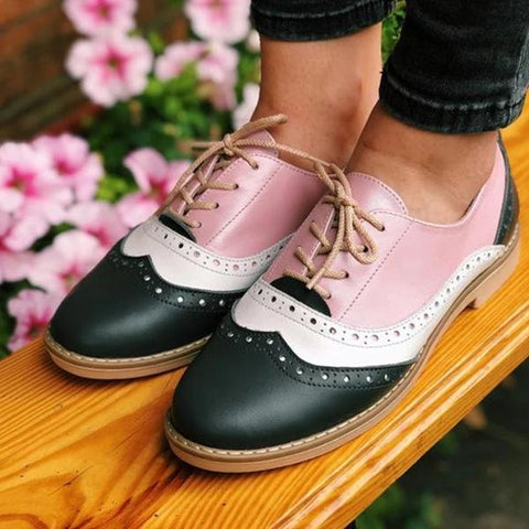 Fashion Flat Round Toe Lace-up Flats