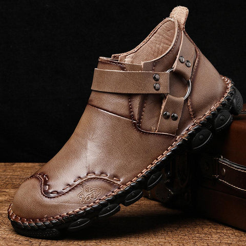 Men Harness-Strap Hand Stitching Leather Comfy Soft Stylish Ankle Boots