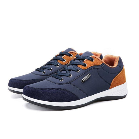 Men Splicing Leather Slip Resistant Sport Casual Sneakers