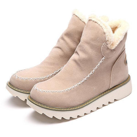Pure Color Warm Fur Lining Winter Ankle Snow Boots For Women