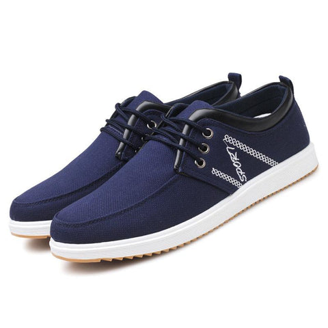 Men Canvas Breathable Lace Up Soft Casual Driving Shoes