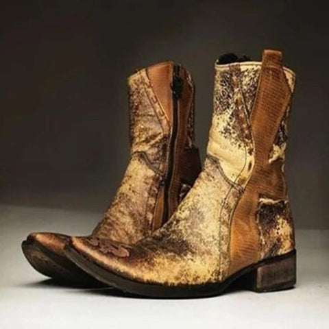 Men'S Western Gold Embroidered Leather Ankle Boots