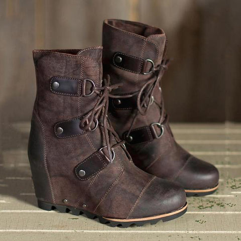 Women's Wedge Mid Waterproof Leather Boots