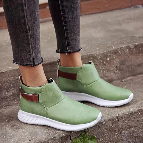 Women Casual Vintage Magic Tape Flat Heel Boots