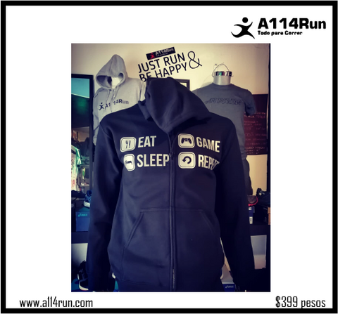 SUDADERA NEGRA SLEEP, EAT, GAME, REPEAT.