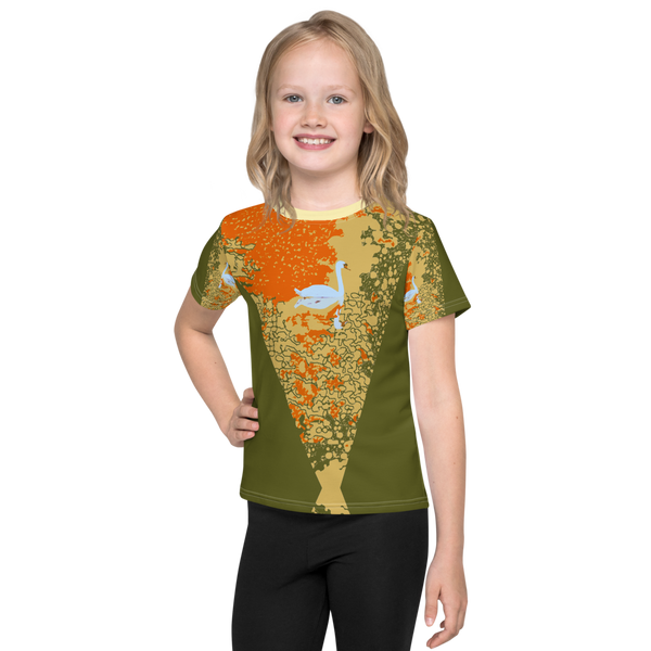Kids T-Shirt Sunset Pond Swan Reflection