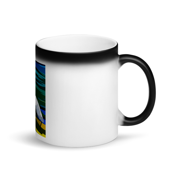 Matte Black Magic Mug Evening Lake